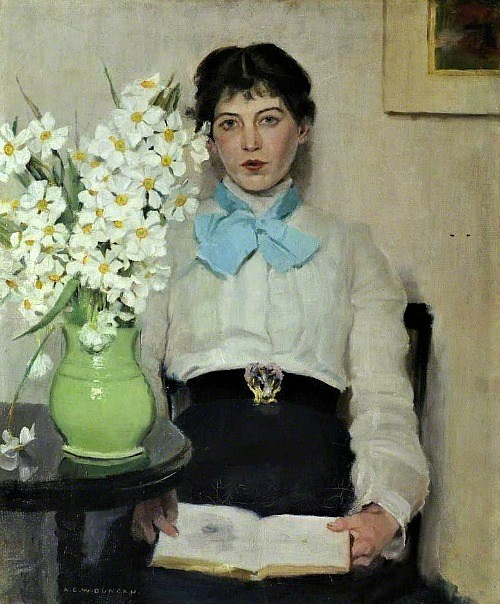 A C W Duncan Woman with Flowers in a Vase