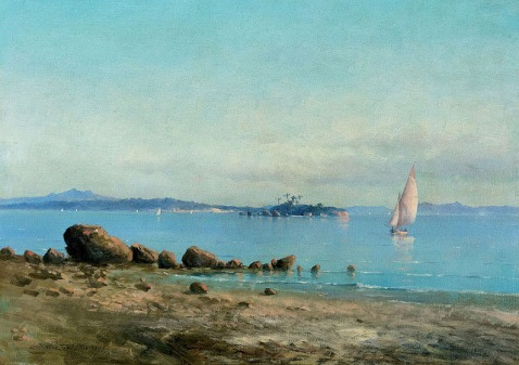 CARLOS BALLIESTER - Praia em Paquetá - Óleo sobre tela - 48,8 x 67,5 - 1907