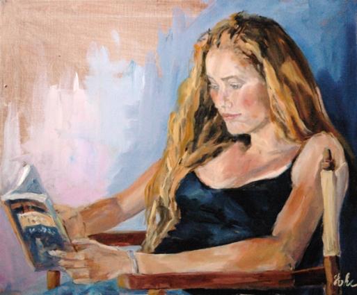 EVHE (França), La lectrice, huile sur toile, 54 x 65 cm.