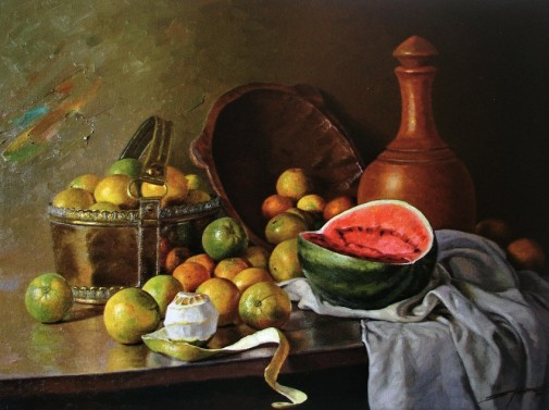 FLORÊNCIO - Laranjas e melancia - Óleo sobre tela - 60 x 80