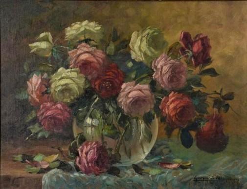 GEORGINA DE ALBUQUERQUE (1885 - 1962) - Flores - ost - 50 x 65