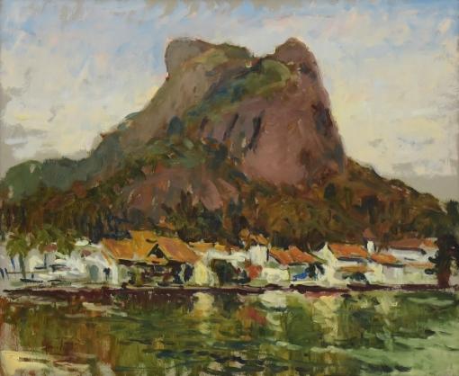 GIAN PAOLO (1965).Paisagem do Canal da Barra da Tijuca, Casario e Pedra da Gávea ao Fundo, óleo s eucatex, 50 X 60.