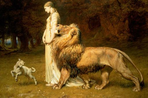 Lamb Painting - Una And Lion From Spensers Faerie Queene by Briton Riviere
