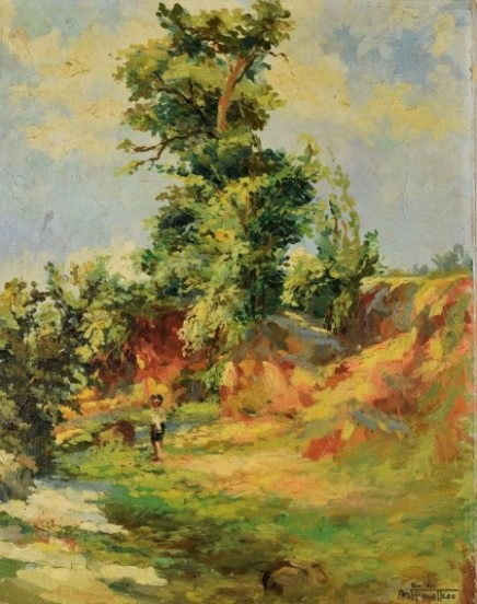 arthur timótheo da costa (rio de janeiro rj 1882 - idem 1922), óleo sobre tela, med 38 x 48,5 cm. assinado e datado 1921 , localizado rio
