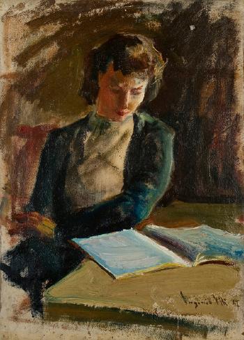 eugenio viti (itália,1881-1952) a leitura, 1947, ostcm, 49 x 36 cm
