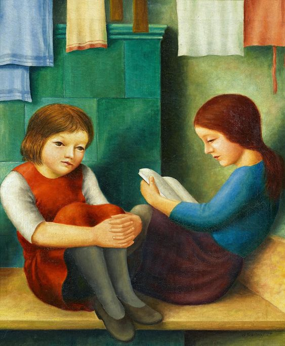 georg_schrimpf, duas meninas na banqueta, 1927