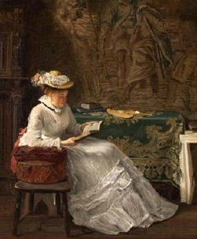 haynes king (british, 1831–1904), young lady seated in an interior reading a book, 1875, oil on canvas, 48 x 38 cm