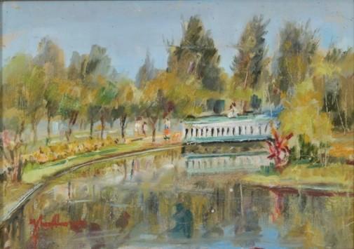 josÉ maria de almeida (1906-1995),lago parque das Águas em são lourenço-mg,ost, 33 x 46. (1987) no verso.