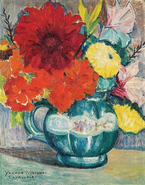 yvonne visconti cavalleiro, flores,osm, (1940),35 x 27 cm