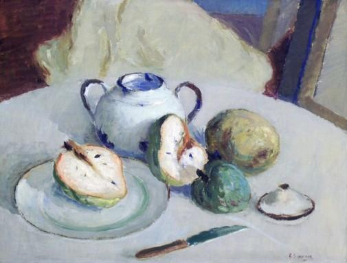 Angelo Simeone, (Itália-Brasil, 1899-1963)Natureza Morta, 1953, óleo sobre tela, 50 x 65 cm, UFRGS