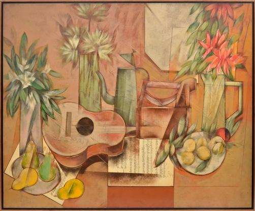 CARLOS SCLIAR - Grande composição, flores, ferro de passar, vinil e colagem sobre tela, 1991. 100x130 cm.