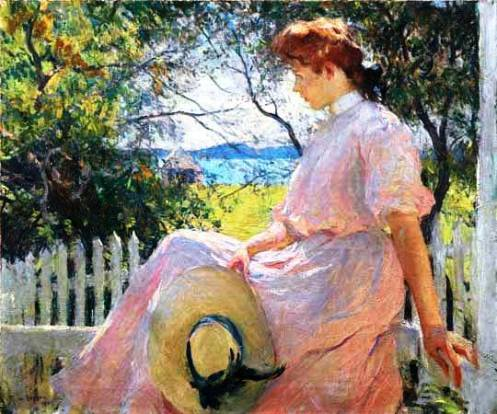 moça sentada na cerca, Fran Weston Benson