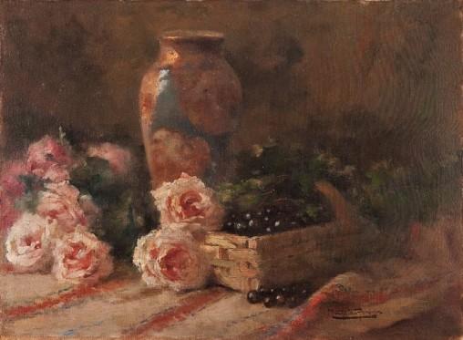 MONTEIRO FRANÇA,Flores e natureza morta,Óleo sobre tela. Ass. inf. dir. 60 x 80 cm.