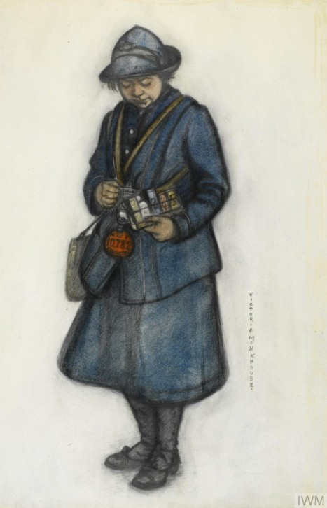 A Bus Conductress, 1919, by Victoria Monkhouse. aqaurela sobre papel,39 x 27 cm, Imperial War Museum