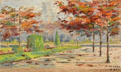 A. Seabra. Paisagem, Praça Paris, RJ. Aquarela. 8 x 12 cm. Assinado e datado 1951.