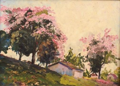 ANIBAL MATTOS (1889 - 1969). Paisagem Rural com Casario e Paineiras, óleo smadeira, 26 x 35. Assinado no c.i.d.