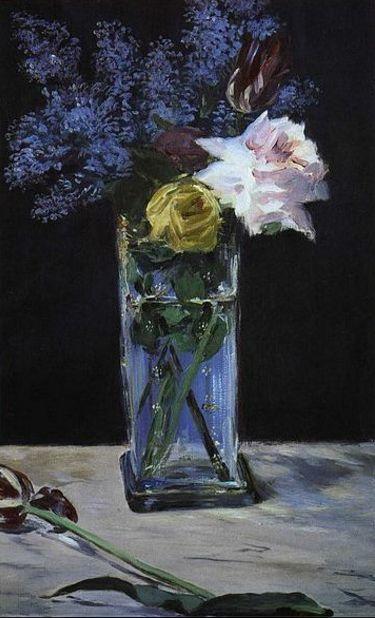 Édouard Manet, Rosas, tulipanes y Lilas en un florero de cristal