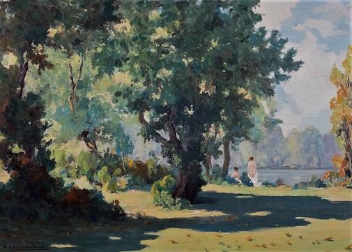 Carlos Chambelland, Paisagem com figuras, 1930, osm, 70 x 50 cm