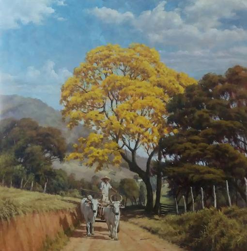 CARLOS ROBERTO MIRANDA - Cores do pantanal - Óleo sobre tela - 100 x 100