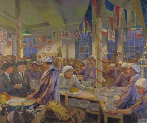Clare Atwood (1866–1962) Christmas Day in the London Bridge YMCA Canteen, 1920, ost, 152 x 182 cm, Imperial War Museum