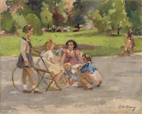 CRIANÇAS Paul_michel-Dupuy (França, 1869-1949)jeux_d_enfants, ost, 33 x 41 cm