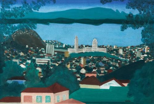 DJANIRA da Motta e Silva,Centro do Rio Visto de Santa Tereza,ost, (década de 1960), 50 x 73 cm