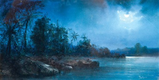 INSLEYPACHECO(1830 - 1912)Paisagem noturna na Baia de Guanabara no séc.xix, guache, 21 x 41