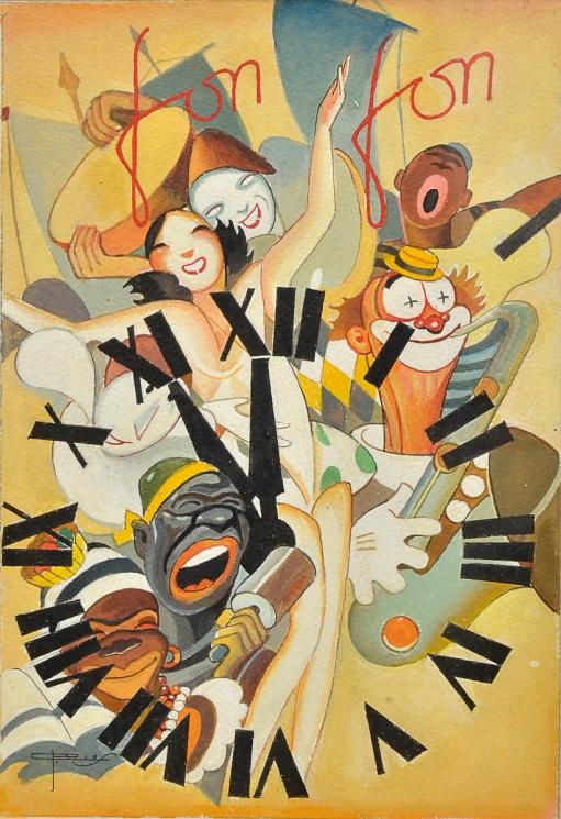 J. CARLOS (1884 - 1950) - Tempo de Carnaval, rara aquarela sobre cartão, capa da revista Fon-Fon, med. 35 x 22,5cm, assinada e localizada Rio.