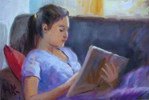 Joel Oliveira - quadro óleo sobre tela 20x30cm Leitura