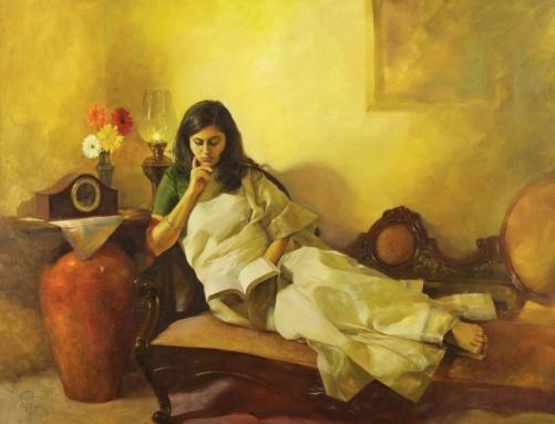 Luz dourada, Aditya Phadke (Índia, contemporâneo) Óleo sobre tela, 60 x 81 cm