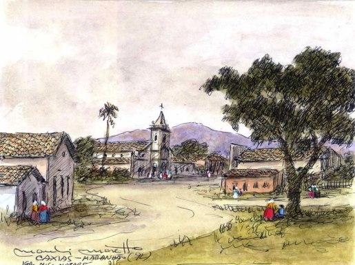 MANLIO moretto (Br, 1917-2013), Caxias, maranhao, aquarela e naquim
