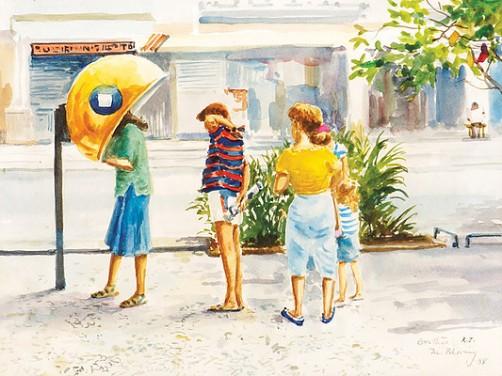 Mario Bhering, Visão urbana, RJ, aquarela, 23 x 30