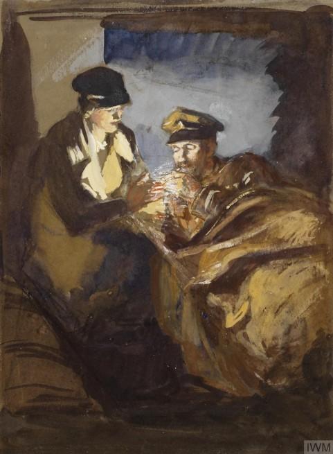 Olive Mudie-Cooke, Numa ambulância, uma enfermeira acendendo cigaroo para paciente, aquarela sobre papel,29 x 21 cm,Imperial War Museum