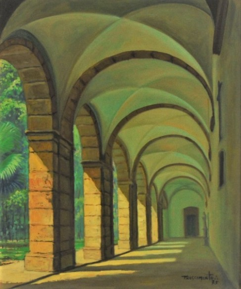 PEDRO NASCIMENTO (1927-1986). Ala do Claustro do Mosteiro de São Bento - Rio, óleo s tela, 56 X 46. Assinado e datado (1975) no c.i.d. e no verso.