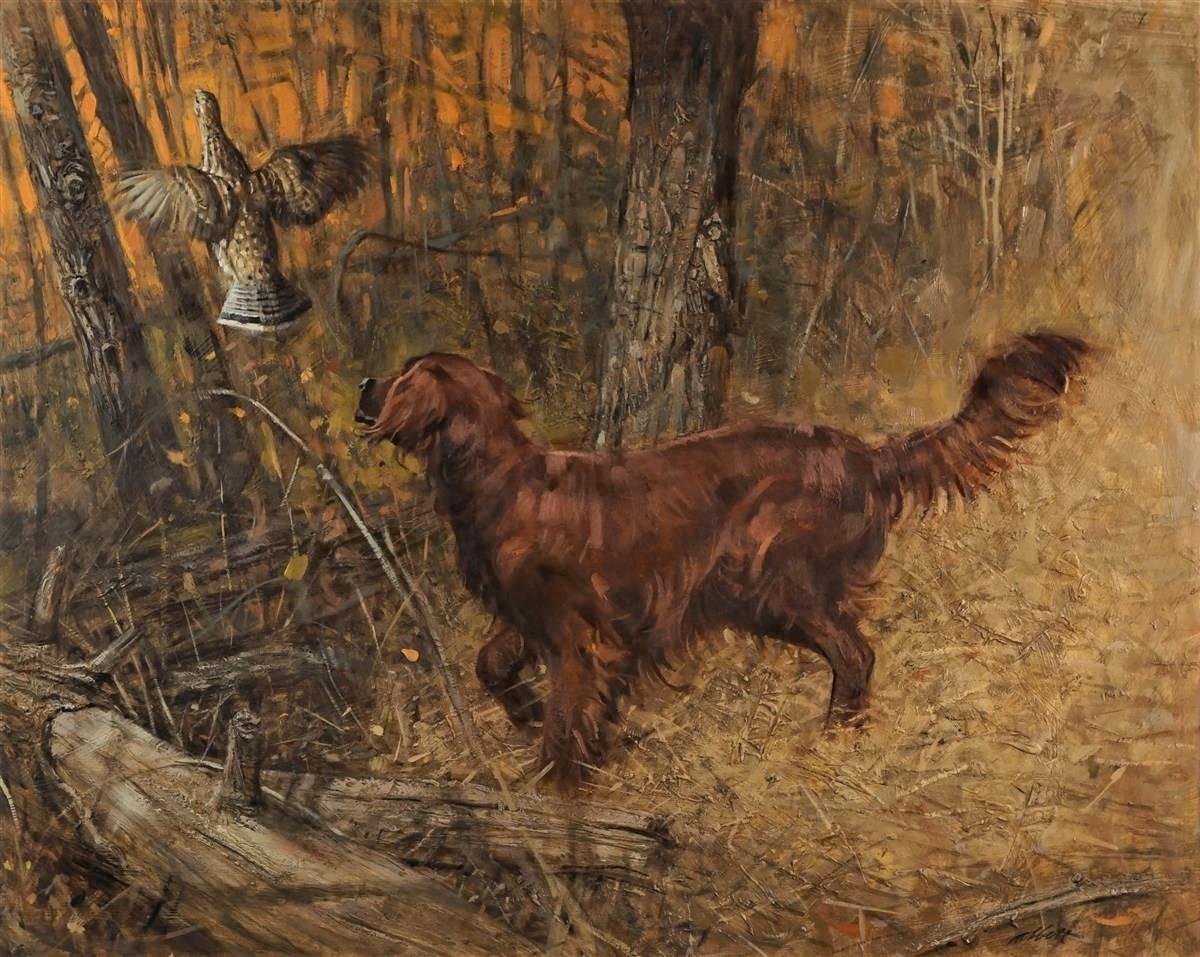 Robert K. Abbett (EUA, 1926 – 2015) Shannon's First Grouse, oil on masonite , 60 x 74cm 2