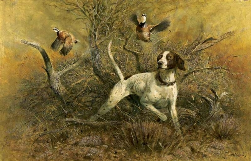 Robert K. Abbett (EUA, 1926 – 2015) ) Whites and Pointer, oil on masonite ,59 x 92cm