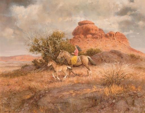 Robert K. Abbett (EUA), Bringing in the Colt, 1974,,oil on masonite, 66 x 86 cm