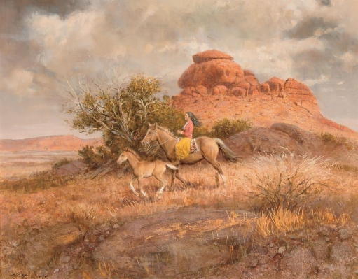 Robert K. Abbett (EUA), Bringing in the Colt, 1974,,oil on masonite, 66 x 86 cm