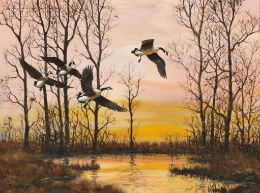 Robert K. Abbett (EUA), Incoming Snow Geese, Candlewood Lake, Connecticut , oil on masonite,44x 59cm