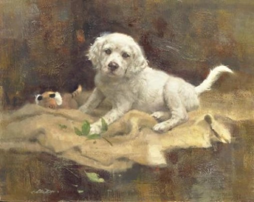 Robert K. Abbett (EUA), The Botanist - English Setter Pup, 1996, oil on masonite, 40 x 50 cm