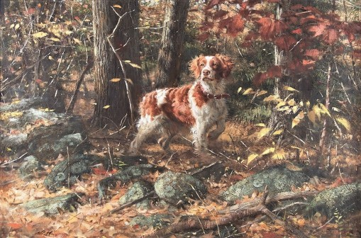 Robert K. Abbett (EUA,1926-2015 ) Stonewall Brittany, 1990, oil on masonite ,50 x 96 cm