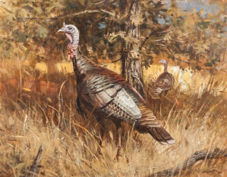 Robert K. Abbett (EUA1926-2015), Timberlake Turkeys, Circa1970 , oil on masonite , 60 x 76 cm