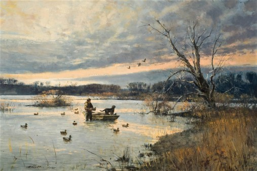 Robert K. Abbett (EUA1926 – 2015) ) Leeper Lake, 1981, oil on masonite ,60 x 91cm