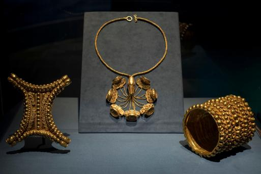 The Carambolo Treasure consists of 21 pieces of gold jewelry discovered by construction workers near Seville, Spain in 1958.