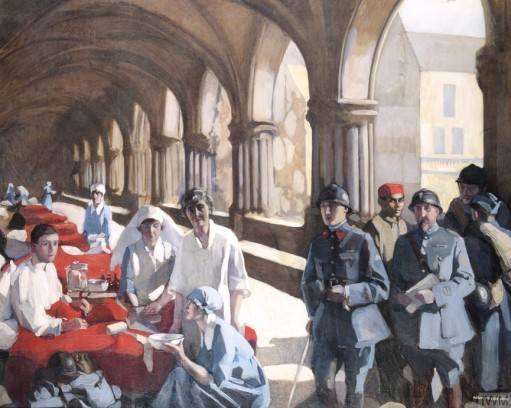 The Scottish Women's Hospital, In The Cloister of the Abbaye at Royaumont, 1920, ost, 114x139 cm, by Norah Neilson-Gray.