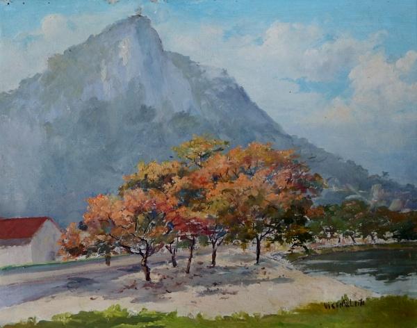 VICENTE LEITE-Vista para o Corcovado da Lagoa RF. Rio. Óleo sobre tela, 30 x 48 cm. Assinado no canto inferior direito.