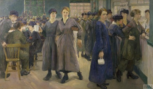 Women's Canteen at Phoenix Works, Bradford, 1918, by Flora Lion,ost 106 x 182 cm, Imperial War Museum