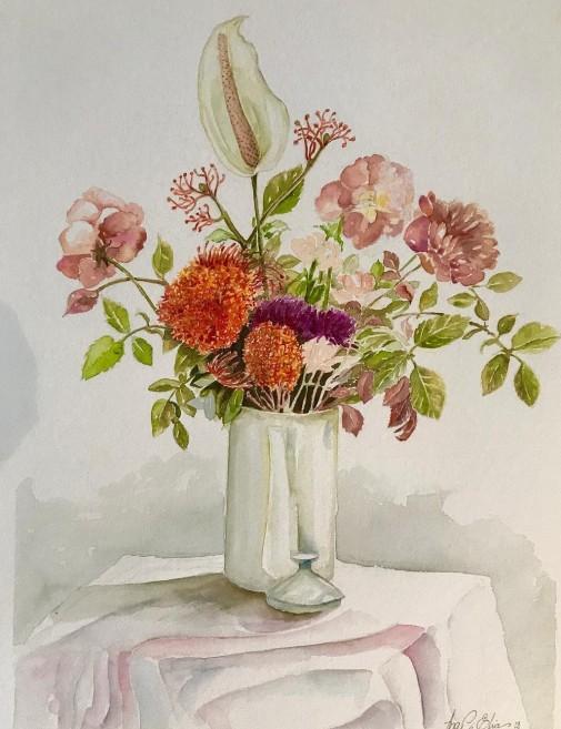 Ana Cristina Elias, Vaso de flores, Aquarela, 35 x 50 cm