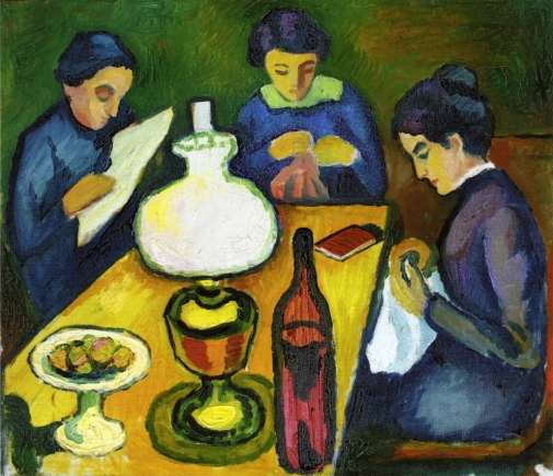August Macke, 3 women at a table, 1912, ost