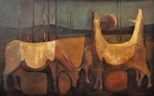 BANDEIRA DE MELLO - Cavalos tempera e óleo sobre aglomerado, 46X72cm. Assinado 1967. Medida da moldura 48X74.5cm.